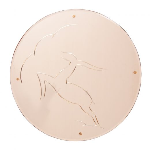 art deco mirrors Art Deco Mirror with Leaping Gazelle Design on Peach Mirror Glass (#2327)