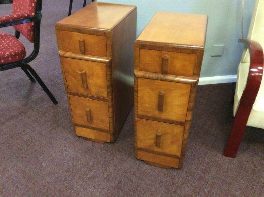 art deco bedside cabinets A pair of art deco bedside cabinets (item #2331)