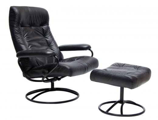chairs Midcentury Black Leather Reclining Armchair & Ottoman (#2335)