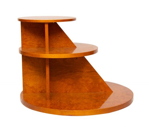 art deco tables Art Deco Burr Elm 3 Tier Table by Hille (item #2338)