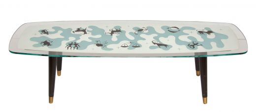 tables Midcentury zodiac glass top table (item #2339)