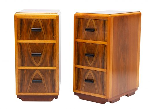art deco bedside cabinets A pair of art deco bedside cabinets (item #2342)