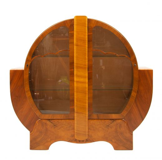 Art deco cabinet Art Deco Figured Walnut Circular Display Cabinet (item #2348)