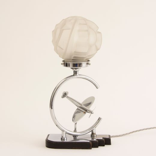 art deco table lamps Art Deco Table Lamp with Aeroplane & Sunburst Geometric Glass Shade (item #2358)