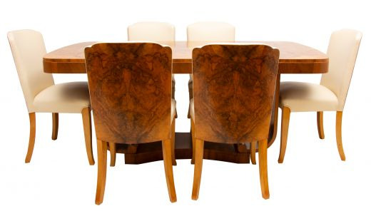 art deco dining table and chairs Art Deco Figured Walnut Dining Table & 6 Chairs by Harry & Lou Epstein  (item #2374)