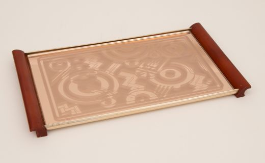 Bakelite Art Deco Tray with Amber Phenolic Handles and geometric Peach Mirror by Kaymet  (item #2390)