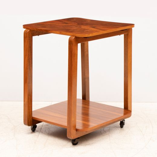 art deco tables Art Deco Figured Walnut Two Tier cocktail Table on Casters (item #2392)