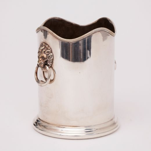 arts and crafts silver Silver Plate Ice Bucket with Lions Head Handles by William Shirtcliffe & Son (item #2401)