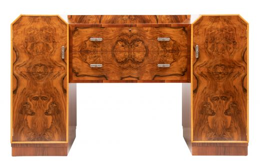 art deco sideboard credenza Art deco figured walnut sideboard (item #2403)