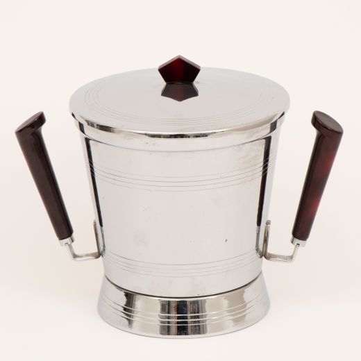 barware Art Deco Ice Bucket with Cherry Amber Bakelite Handles by Glo Hill (item #2414)