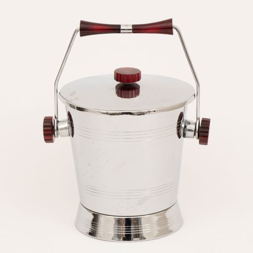 barware Art Deco Ice Bucket with Cherry Amber Bakelite Handles by Glo Hill (item #2415)