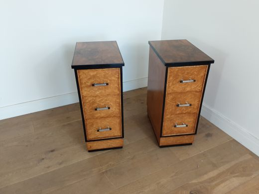 art deco bedside cabinets A pair of art deco bedside cabinets (item #2434)