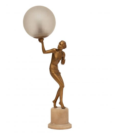 art deco table lamps Art deco figure lamp (item #2452)