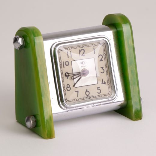 art deco clocks Art Deco Green Marble Bakelite Clock by Savoy (item #2468)