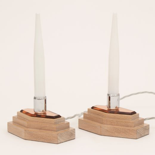 art deco table lamps Pair of Modernist Art Deco Lights on Stepped limed oak Base by Heals c.1930 (item #2480)