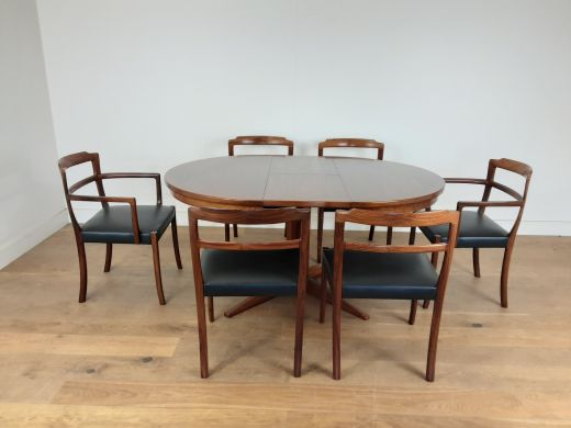 Dining sets Mid century danish rosewood extendable dining table and six chairs (item #2487)
