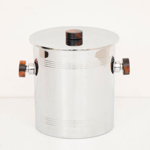 barware Canadian Art Deco Polished Chrome Ice Bucket with Amber Bakelite Handles by Glo Hill c.1930 (item #2495)