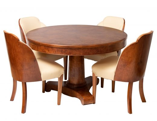 art deco dining table and chairs British Art Deco Figured Walnut Dining Table & Cloud Back Chairs c.1930 (item #2498)