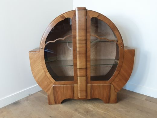 art deco display cabinets British Walnut art deco circular display cabinet with cloud design (item #2511)