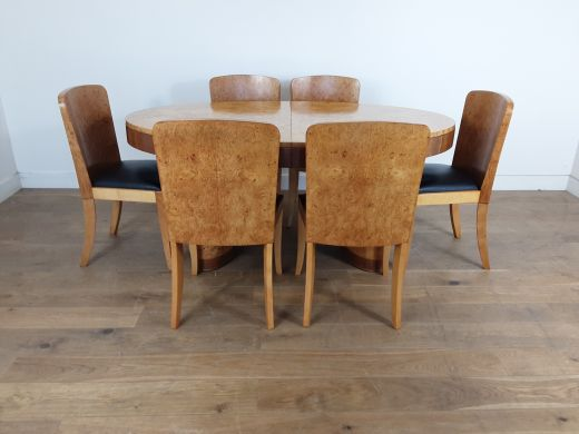 art deco dining table and chairs British art deco extendable dining table and six chairs in birdseye maple by hille (item #2512)