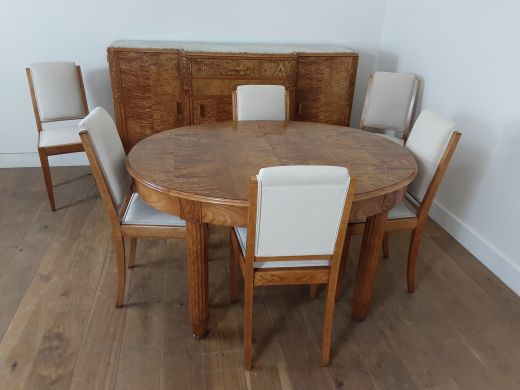 art deco dining table and chairs French art deco dining suite in satinwood and burr elm by Leon Jallot (item #2513)