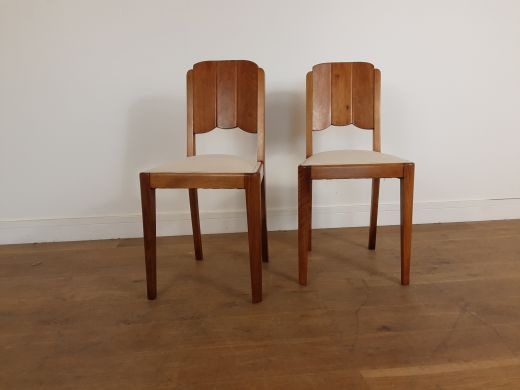 Chairs British art deco chairs with cloud design walnut panelled backs (item #2514)