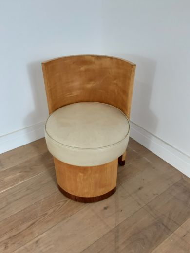 art deco stools  Hille Art deco stool in sycamore with walnut trim and leather seat. (item #2553)