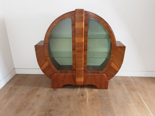 art deco display cabinets Art deco circular display cabinet bookcase (item #2555)