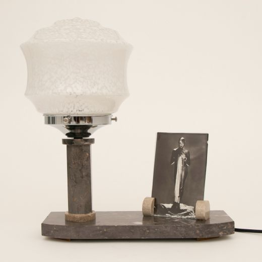 art deco table lamps French Art Deco Marble Table Lamp with Photo Frame (item #2573)