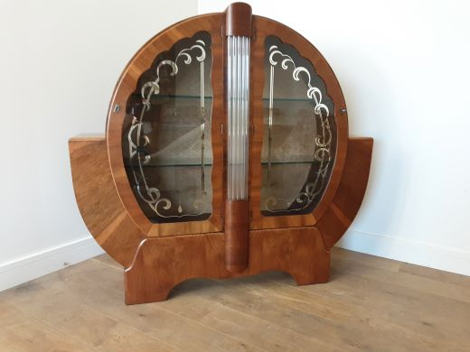 art deco display cabinets Art deco circular display cabinet bookcase  (item #2576)