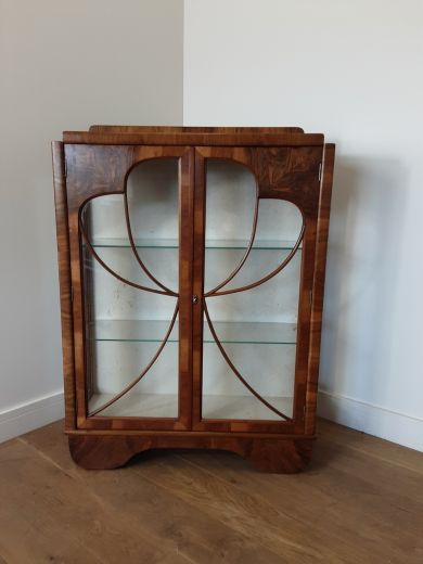 art deco display cabinets Art deco display cabinet bookcase with butterfly front (item #2577)