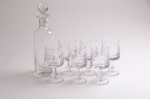 glass Italian Midcentury Cut Crystal Decanter & Glasses (item #2584)
