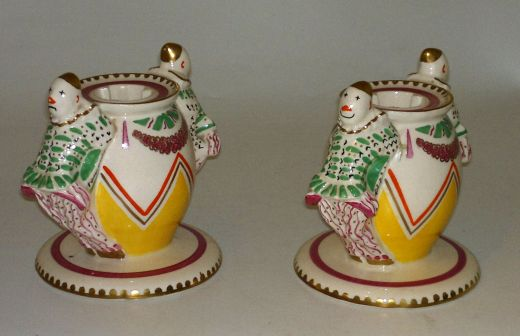 Clarice Cliff Laura Knight Circus design Candle sticks (item #735)