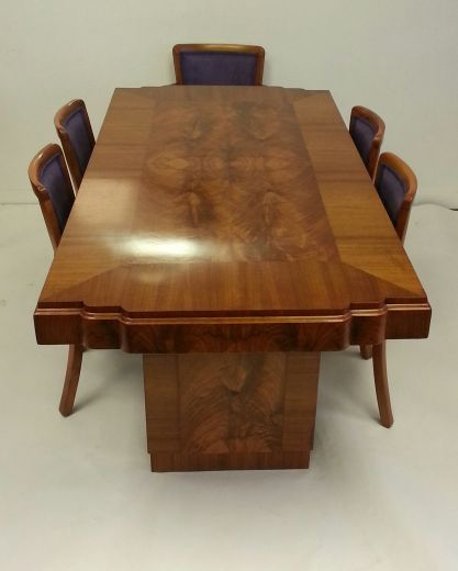 SOLD ART DECO DINING TABLES TABLE AND SIX CHAIRS Item 1306