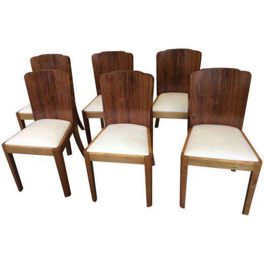 Six Art Deco Dining Chairs Chairs Gazelles of Lyndhurst