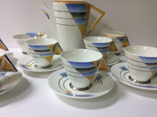 Shelley Art Deco Shades And Lines Coffee Service Shelley